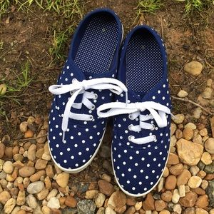 Navy White Polka Dot Canvas Lace Champion Sneakers